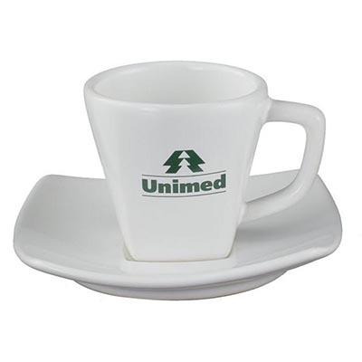 Xícara de café com pires square 70ml.