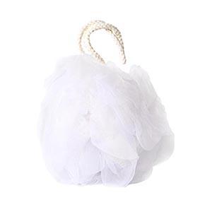 Esponja de banho em nylon branca com Organza branca