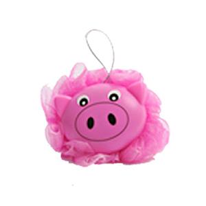 For Import - Esponja de banho em nylon formato de porco rosa com suporte