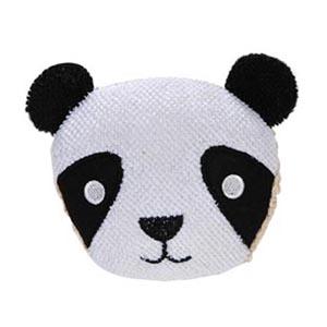 Bucha para banho formato urso panda.