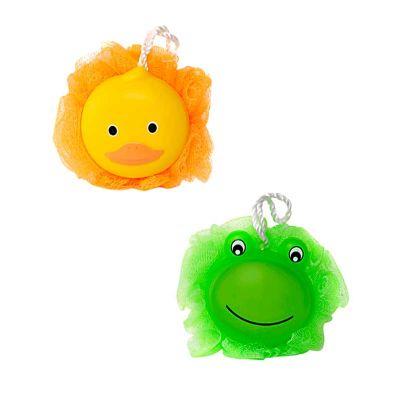 Esponja de Banho em Nylon com Suporte - Sapo Verde e Pato Amarelo - For Import