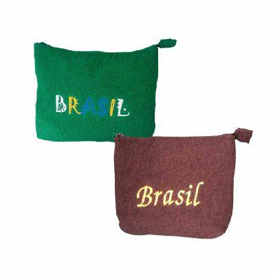 for-import - Necessaire Atoalhada Verde e Marrom Brasil