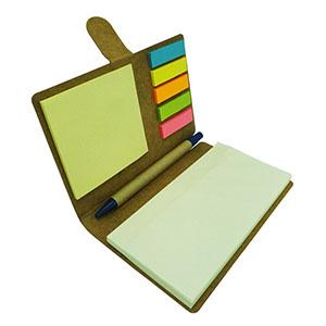 jkmns-brindes-promocionais - Bloco de anotação personalizado com sticky notes coloridos e caneta. Material reciclado.