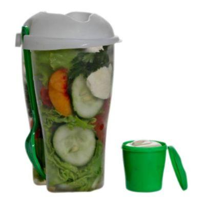 JKMN'S Brindes Promocionais - Copo para salada PP com garfo e molheira