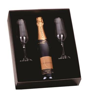 JKMN'S Brindes Promocionais - Kit espumante 750 ml com duas taças personalizadas e caixa presente personalizada
