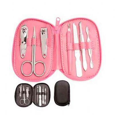 Reina Brindes Promocionais - Kit manicure 7 peças em estojo de couro sintético