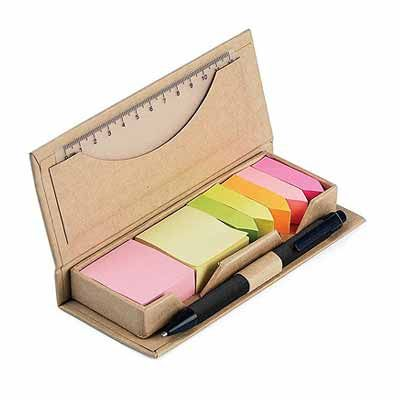 reina-brindes-promocionais - Bloco de anotações ecológico com caneta e sticky notes