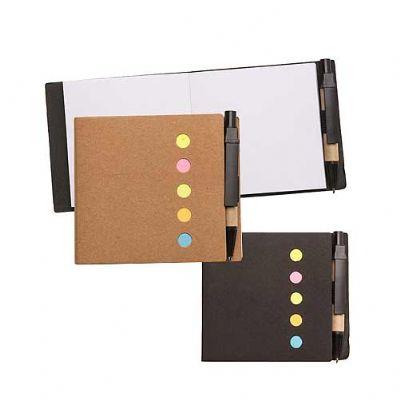 reina-brindes-promocionais - Bloco ecológico(kraft) com sticky notes e mini caneta.