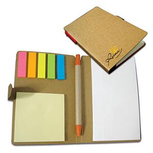 reina-brindes-promocionais - Bloco de anotação com sticky notes e caneta.