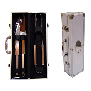 Kit Churrasco com 3 peças e maleta em alumínio. - Reina Brindes Promocionais