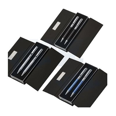 Kit caneta e lapiseira de metal em estojo papelão com placa de metal - Reina Brindes Promocionais