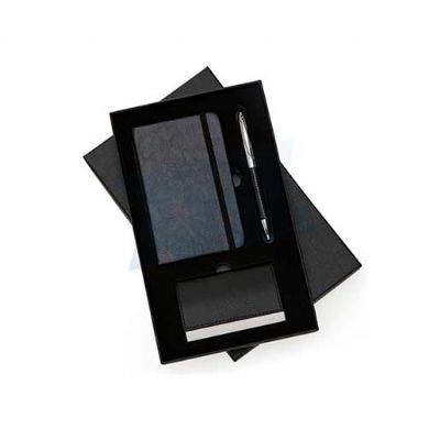 Kit executivo 3 peças em estojo de papelão com tampa e parte interna revestida de espuma. Gravação Sugerida em Silk. - Reina Brindes Promocionais