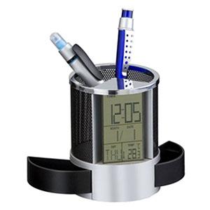 Reina Brindes Promocionais - Relógio de mesa com porta canetas e trecos.