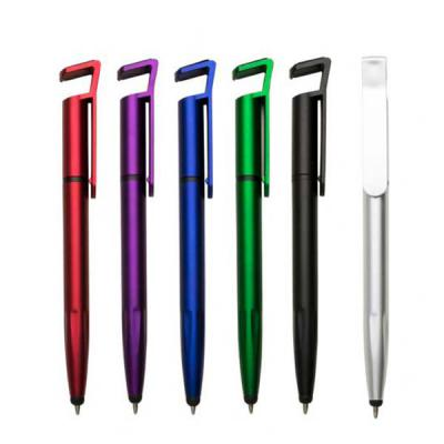 expresso-brindes - Caneta plástica touch com suporte para celular, caneta inteira colorida com detalhes preto. Clip plástico aberto utilizado como suporte para o celular...