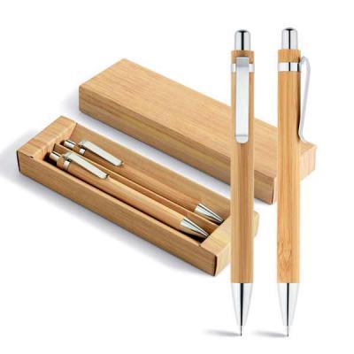 expresso-brindes - Conjunto de esferográfica e lapiseira. Bambu. Esferográfica: 1,5km de escrita. Lapiseira: grafite 0.7. Em estojo de cartão. 11 x 138 mm | Estojo: 171...