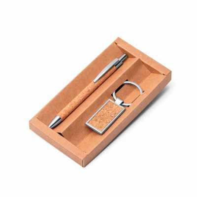 Kit caneta e chaveiro em cortiça e metal - Expresso Brindes