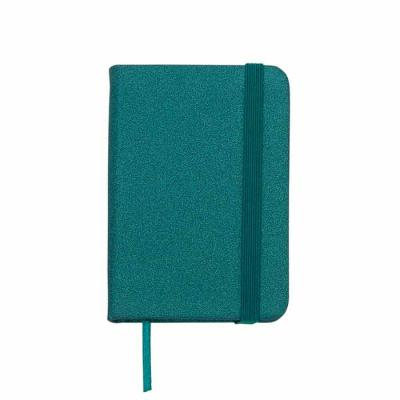 Mini Caderneta produzida em material sintético brilhante com marcador de página em cetim e fita e...