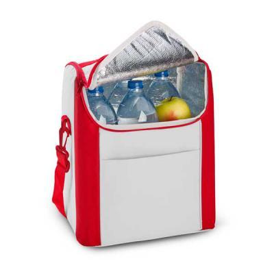 capital-brindes-e-cia - Bolsa térmica. 600D. Com alça ajustável em webbing e bolso frontal. Capacidade até 12 litros. Food grade. 290 x 340 x 190 mm