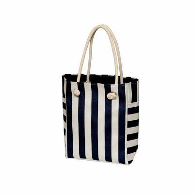 ideia-e-costura - Bolsa de praia listada Azul Marinho
