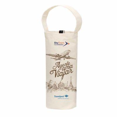 Ideia e Costura - Porta vinho confeccionado em lona natural 235g medidas: 14cm largura x 33cm de altura x 8cm fundo. Alça de mão.