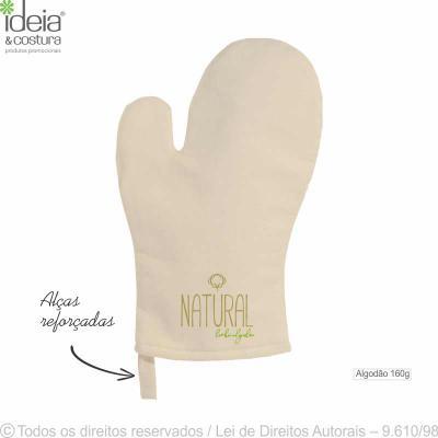 ideia-e-costura - Luva de cozinha confeccionada em tecido 100% algodão, cor cru 160g, medidas: 19cm largura x 30cm altura. Quantidade mínima 100 peças. Temperatura máxi...