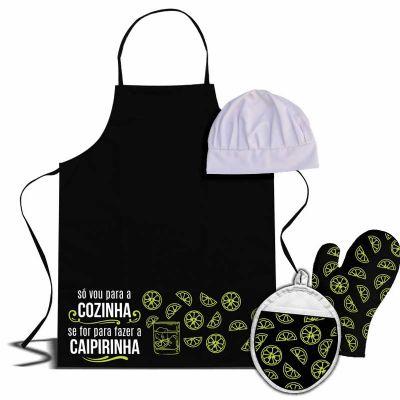 Ideia e Costura - Kit de cozinha com luva de cozinha pega panela e chapéu de chef