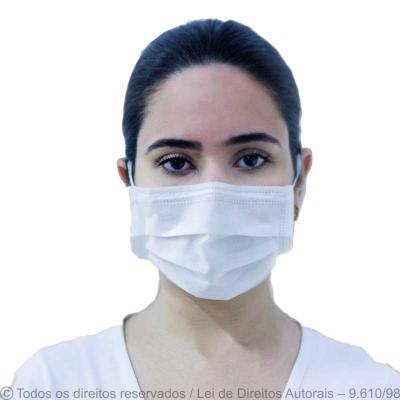 Máscara confeccionada em TNT com forro externo em TNT 35g e interno 18g com elástico e clipe de a...