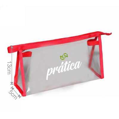 ideia-e-costura - Nécessaire de PVC transparente medidas: 23cm de largura x 13cm de altura x 5cm de lateral e profundidade, fechamento com zíper e viés colorido. Nécess...