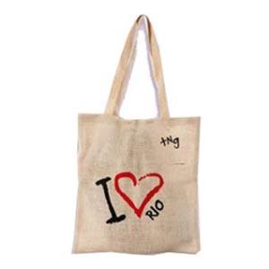 Master Bolsas - Eco bag em juta colorida, com alça em fita de algodão.