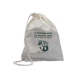 master-bolsas - Mochila saco em algodão cru, com cordão em algodão e ilhós.