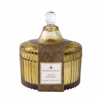 botanica-velas - Linda vela perfumada em bomboniere âmbar, medindo 10x12cm Aroma Lily of the Valley