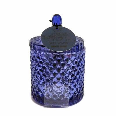 """botanica-velas - Linda vela em baleiro azul, vidro acabamento """"bico de jaca"""". Aroma Deep Water, medindo 9x13cm"""