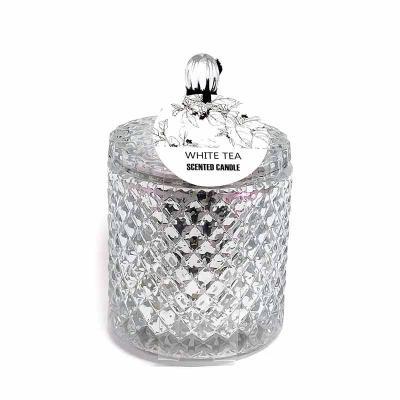 botanica-velas - Linda vela em vidro com acabamento metalizado na cor prata, medindo 9x13cm Aroma White Tea