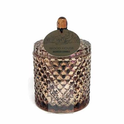 botanica-velas - Linda vela em vidro com acabamento metalizado na cor cobre, medindo 9x13cm Aroma Wood House