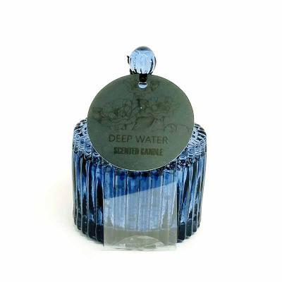 botanica-velas - Linda vela perfumada em vidro metalizado azul, medindo 6x9cm Aroma Deep Water