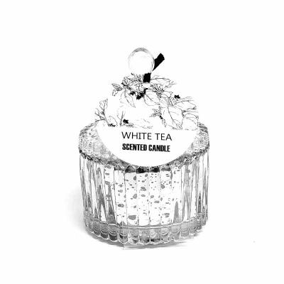botanica-velas - Linda vela perfumada em vidro metalizado prata, medindo 6x9cm Aroma White Tea