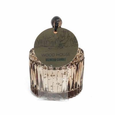 botanica-velas - Linda vela perfumada em vidro metalizado cobre, medindo 6x9cm Aroma Wood House