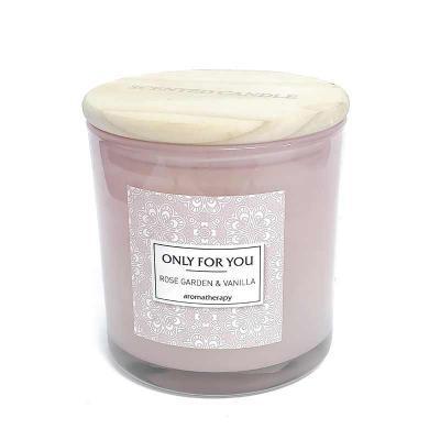 botanica-velas - Linda vela perfumada, aroma Rose Garden & Vanilla, em vidro rosa com tampa de madeira Medida 10x10cm