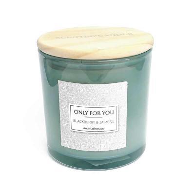botanica-velas - Linda vela perfumada, aroma Blackberry & Jasmine, em vidro cinza com tampa de madeira Medida 10x10cm