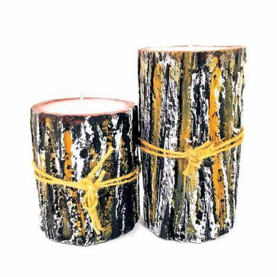 botanica-velas - Linda vela de parafina com acabamento simulando casca de árvore Disponível nas medidas 8x10 e 8x15cm Sem aroma