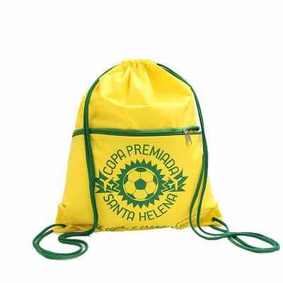 Mochila saco com bolso e zíper personalizado