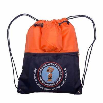 Mochila saco com bolso e zíper personalizado - Multipacks Brasil
