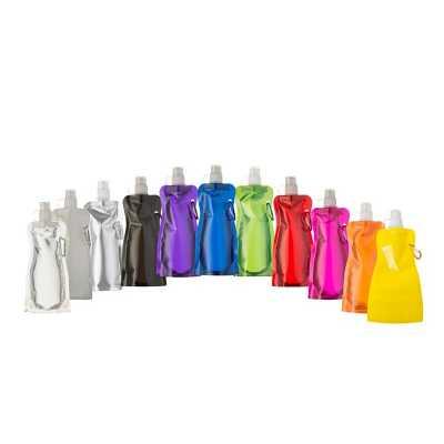 Multipacks Brasil - Squeeze dobrável de plástico de 480 ml com mosquetão. Altura: 260mm Largura: 130mm Medidas aproximadas para gravação (CxD): 10 x 18,5cm Tamanho total...