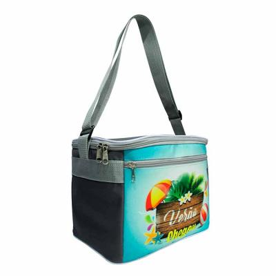 Bolsa Térmica com bolso frente com zíper, forro em pvc branco solda e espuma packs, alças ombro e...
