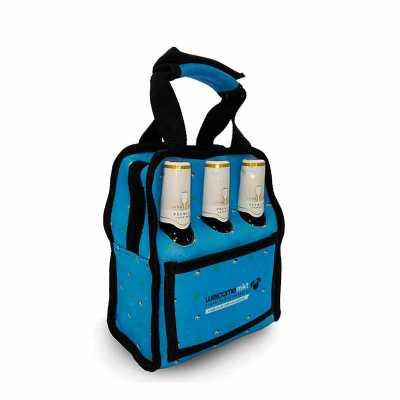 multipacks-brasil - Lancheira térmica de neoprene toda sublimada (20x23x12 cm) porta garrafas ou latas, com bolso (16x11cm) e com ou sem furo para garrafas.