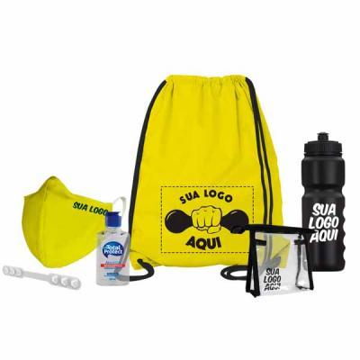 Kit esportivo Anti-Covid: Saco mochila Máscara Necessaire Extensor de máscara Álcool em gel Squee...