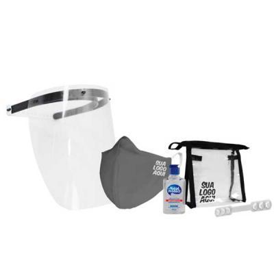 Multi kit com: Máscara ou face shield Álcool em gel Squeeze opcional Extensor de máscara Necessaire