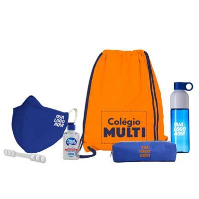Multi kit com: Saco mochila Máscara Álcool em gel Squeeze Extensor de máscara Estojo