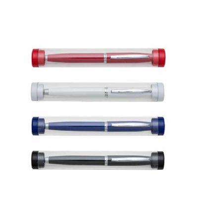Caneta Metálica com tubo transparente