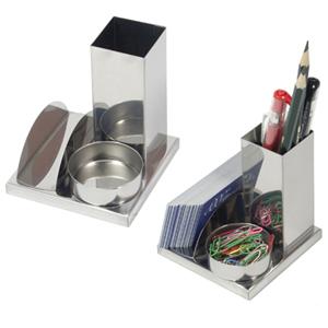 Brindes Curitiba - Porta canetas, clips e cartão em inox com gravação a laser.